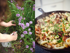 Chives & Fried Potatoes (Simply Vintagegirl) Tags: food plant flower green garden season fry potatoes purple cut sidedish fresh meal castiron pick herb seasoning skillet