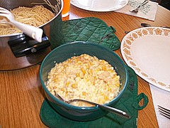Spaghetti Noodles And Corn Casserole. (dccradio) Tags: ny newyork corn bowl casserole adirondacks upstateny noodles pan spaghetti duane corelle northernny hotmat