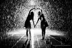 Together, Rain Room  installation by Random International, MOMA (jev) Tags: leica nyc newyorkcity blackandwhite newyork art ecology monochrome rain weather modern 35mm shower manhattan contemporary room rangefinder moma museumofmodernart rainstorm environment environmentalism rainfall ecosystem rainshower randominternatio