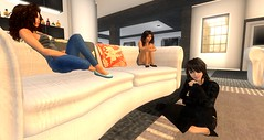 1.1-23 (Second Life Stories) Tags: blue girls brown black hair women long pumps legs stripes couch flats jeans mina secondlife heels shorts tiffany brunettes rubi