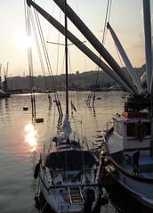 DSC08587 (Kate Hedin) Tags: ocean sunset sea italy sun water port boat dock mediterranean ship genoa genova