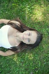 Katya (MaudeCarriere) Tags: sun green girl smile happy pretty blueeyes percing