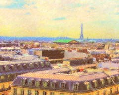 View of the Eiffel Tower from the Roof of the Galeries Lafayette (Digital Color Pencil Drawing) (Charles W. Bailey, Jr., Digital Artist) Tags: 3 paris france color tower art pencil photoshop lens effects photo galeries lafayette boulevard haussmann skin drawing alien manipulation eiffel snap 9th arrondissement hdr topaz adjust restyle denoise