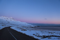 Evening in Faskrudsfjordur (*Jonina*) Tags: road winter sky evening iceland dusk sland 1000views vetur himinn 5000views 3000views 2500views 50faves 4000views 6000views 1500views vegur explored 25faves fskrsfjrur faskrudsfjordur ljsaskipti sdegi jnnagurnskarsdttir
