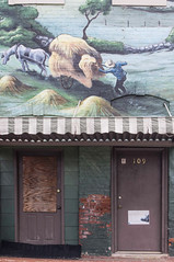 The Farmer (jwcjr) Tags: door shadow window mural barnesvillega barnesvillegeorgia smalltownga pentaxkr muralbarnesville