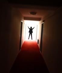 Wake Up (CoolMcFlash) Tags: light red man motion rot up silhouette standing carpet person photography austria licht österreich hands doors fotografie dynamic zoom gang dream corridor bewegung fujifilm mann teppich gegenlicht türen roter gangway x10 traum dynamik umris stehen kontur