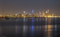 Melbourne city skyline from Williamstown (Ralph Green) Tags: reflection skyline night reflections australia melbourne victoria williamstown hdr eurekatower cityskyline yatchs