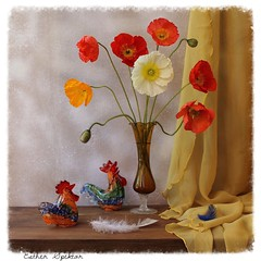 Sense of Wonder (Esther Spektor - Thanks for 16+millions views..) Tags: wood flowers blue red stilllife orange brown white color reflection green art texture glass yellow composition canon scarlet wonder golden spring stem pattern availablelight curtain feather silk ivory stilleben fantasy poppies vase imagination esther drape rooster bouquet bud figurine hen tabletop bodegon cobalt naturemorte sense artisticphotography naturamorta spektor naturezamorta coth creativephotography artdigital artofimages exoticimage estherspektor