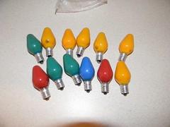 GE Ceramic Coated C7 Christmas Bulbs (mynikonL110-D50pics) Tags: christmas light color lamp electric bulb ceramic ge c7