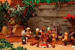A Forest Meeting (th_squirrel) Tags: trees cliff castle rocks lego knights minifigs goblins orcs minifigures