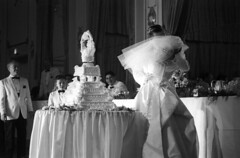 083659 17 (ndpa / s. lundeen, archivist) Tags: bridge boy people blackandwhite bw woman man men film boys monochrome cake guests 35mm children groom blackwhite women kiss kissing child veil dress weddingcake nick bowtie august tuxedo ballroom 1950s gown weddingdress weddingreception 1959 unidentified formalattire dewolf bowties bridalgown weddingguests whitetuxedo nickdewolf whitetuxedos photographbynickdewolf kissingthebride locationunidentified