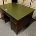 Green leatherette top desk with chairs