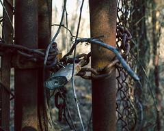 Off Limits (chanlsrfer) Tags: urban art abandoned nature fence army nationalpark newjersey woods rust key lock decay military fine battery nj rusty exploration padlock derelict base sandyhook overgrowth trespassing ue reclaim urbex forthancock