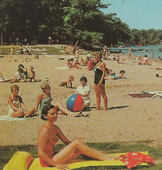 NW Traverse Interlochen MI 1960s Tourist Beach Babes & Family FUN on Beautiful Green Lake at the State Park Beach near the Music Camp and Academy1 (UpNorth Memories - Donald (Don) Harrison) Tags: travel usa heritage history tourism st vintage antique michigan postcard memories restaurants hotels trailer roadside upnorth steamship cafes excursion attractions motels mackinac cottages cabins campgrounds city bridge island car upnorthmemories rppc wonders big railr