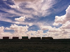 Wyoming skyline (ashabot) Tags: blue sky clouds america midwest silhouettes trains wyoming shadowsandlight
