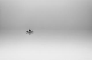 Fisherman - foggy morning