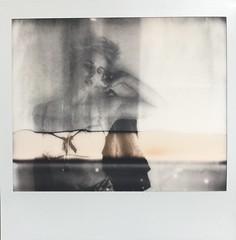 B&W Polaroid spectra double exposure portrait of model Angela Kate Hudson (hethelred) Tags: portrait bw female project polaroid model exposure kate double hudson spectra angela impossible