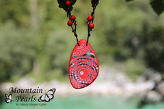 Polymer clay necklace, Mountain Pearls by Nataša Hozjan Kutin (mountain.pearls) Tags: red mountain necklace pearls clay polymer kutin nataša nakit ogrlica rdeča hozjan