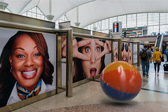 Watching the watchers (wowography.com) Tags: 2017 airport bouldercolorado colorado d610 denverinternationalairport lganyc nikon southwestairlines tomreese wowographycom people blucifer 5425839 masons aztecs beachball mysteries sliderssunday playful fun man woman billboards advertising project felix projectfelix adobe 3d 500px