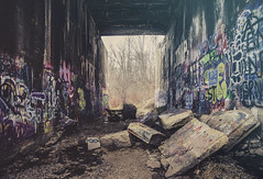 Fallout (patkelley3) Tags: ruins bridge tunnel graffiti colors color haze fog concrete wall walls