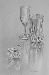 """Crystal"" *Explore* (bellydanser) Tags: art artwork drawing pencil graphite fineart glass swan goblet crystal monochrome blackandwhite bw explore"
