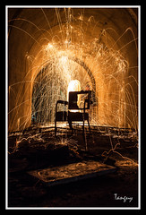 Electric chair (Tanguy Fabien) Tags: longexposure light lightpainting france color art abandoned night contrast canon dark painting underground french fire photography chair ruins europe nightimages photographie darkness lumire creative bretagne breizh ruine burning burns spinning brest paintingwithlight bmo nightshots flowing fuego nocturne franais couleur chaise breton abandonned lightpainter creatif lightart finistere steelwool longueexposition flottant dsaffect bruler 550d abandon noctography lightjunkies canoneos550d tanguyfabienbrest fabientanguy
