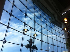 SeaTac (jon.t) Tags: seattle sky plants glass lamp clouds airport terminal