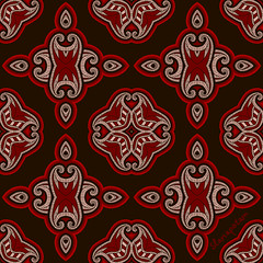 Patterned floor tile in oriental style. (Slanapotam) Tags: wedding red summer wallpaper abstract flower color texture floral fashion wall vintage circle paper tile carpet design spring colorful pattern floor folk lace background indian tissue border culture wrap mandala retro textile ornament invitation card cover frame round symmetrical geometrical cloth oriental shape ethnic hindu greeting rosette element seamless repeat