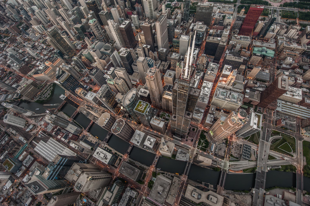 A bird's eye view of the Chicago Skyline as I was leaning out of the door-less helicopter.