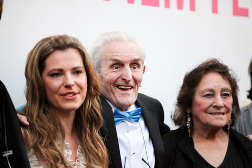 Scarlett Mack, Norman MacLean and Sheila Stewart at the photocall for Blackbird outside the Filmhouse