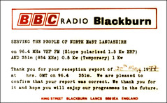 BBC Radio Blackburn QSL Card 1977