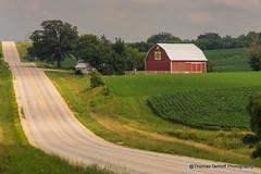 A road runs through it (Thomas DeHoff) Tags: red barn quilt sony iowa farmstead a580