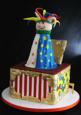 Jack in the box Cake (butterflybakeshop) Tags: nyc newyorkcity cake vintage toy 3d shaped celebration jackinthebox collectible themed scuplted butterflybakeshop