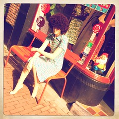 girl (bmrg) Tags: street woman holland mannequin mushroom girl amsterdam fashion vintage bench store clothing lomo doll clothes lomofake iphone dwarfs whosthatgirl hipstamatic wowtogo
