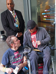 PQ020415 (pete riches) Tags: poverty uk london protest bbc broadcastinghouse pip gb comedian banners blockade dwp disabilityrights slogans picket placards wheelchairs markthomas atos hatecrimes prejudice homelessness langhamplace wca dla dpac rogerlewis blacktriangle biasedreporting demonisation benefitcuts peteriches paulapeters disabledpeopleagainstcuts sambrackenbury johnmacardle workcapabilityassessments fitforworkdeaths mentalhealthresistancenetwork disabledactivists