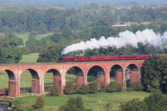 LMS Stanier Jubilee 6P5F 45699 'Galatea' races across the Lancashire & Yorkshire Railways Magnificent Whalley Viaduct hauling the annual 'Lune Rivers Trust' special, this year to Chester now 30 Mins down. 28-9-13 © (steamdriver12) Tags: autumn west heritage lune coast jubilee smoke main sunny steam lancashire line september viaduct special rivers trust railways whalley lms galatea wcr stanier 2013 45699