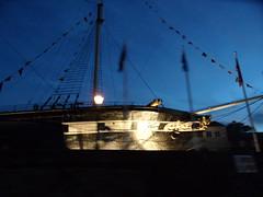 SS Great Britain (Nekoglyph) Tags: black museum night dark bristol gold lights iron ship flags historic steam sail rowing passenger boattrip masts drydock transatlantic ssgreatbritain bunting brunel