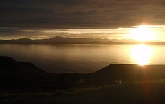 Sunset on way to Applecross, Scotland, UK. (trebandicoot (Lynn)) Tags: sunset sky sun west reflection water skyscape landscape bay coast scotland flickr near shore loch tranquil applecross blinkagain bestofblinkwinners blinksuperstars