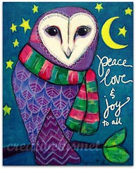 Peace Love Joy Owl (Regina Lord (creative kismet)) Tags: christmas winter holiday art love night scarf painting peace mixedmedia joy owl barnowl christmascard creativekismet reginalord