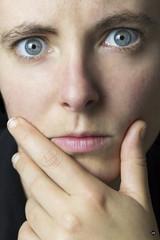 Self-portrait (Amandine HERRERO) Tags: blue selfportrait france color me eyes hand autoportrait couleurs main yeux bleu visage aquitaine gironde médoc taillan taillanmédoc amandineherrero