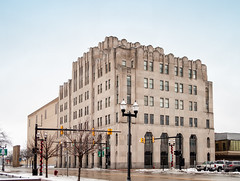 Michigan Bell Saginaw Office Building (1930) (mgsmith) Tags: usa building geometric architecture geotagged design us geometry michigan detroit structure architectural architect limestone artdeco 1930 saginaw wirtrowland wirtcrowland michiganbell centraloffice smithhinchmangrylls 2013 steppedarch michaelgsmith