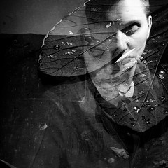 after the rain (Vasilis Amir) Tags: boy portrait blackandwhite motion male leave monochrome leaves square moving experimental doubleexposure flash move double transparency transparent icm twofaces  abstractportrait intentionalcameramovement mygearandme vasilisamir