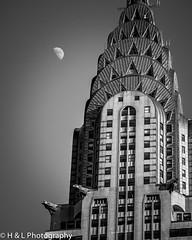 chryslerbwwm (Halonwheelz) Tags: new york city nyc newyorkcity blackandwhite moon white black building manhattan chrysler chryslerbuilding