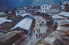 Joshimath from Hotel (dcsarco) Tags: street people india mountains expedition 35mm geotagged slide scanned 1978 himalaya ektachrome fujica brownuniversity joshimath garhwal uttarakhand st801 buhe