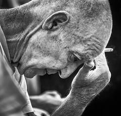 Worry (pootlepod) Tags: street portrait blackandwhite man male monochrome closeup photography worried scared concerns debt stphotographia