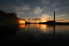 Metis Sunrise (Michael Mitchener) Tags: morning sunrise boat ship paddle canoe metis freighter shipchannel