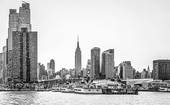 ***Manhattan NYC Waterfront (12bluros) Tags: nyc newyorkcity travel blackandwhite river boats pier dock cityscape waterfront hudsonriver empirestatebuilding 1001nights 5photosaday manhattannewyork canonef24105mmf4lisusm unitedstatesusa 1001nightsmagiccity flickrtravelaward