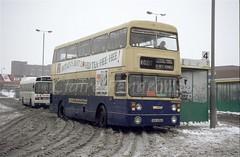 WMT 6656, West Bromwich Bus Station, 1991 (Lady Wulfrun) Tags: sda656s 6656 fleetline snow snowy westbromwich busstation bus winter wmt wmpte ludlows national