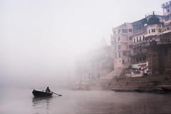 Misty winter morning on Ganges River ([ 117 Imagery ]) Tags: old city urban river ancient worship holy sacred varanasi hindu hinduism embankment ganga ganges banaras benares touristdestination traveldestination
