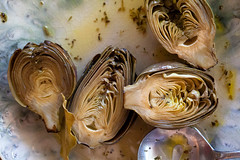 marinated-artichokes-photo-by-Jackie-Alpers (Jackie Alpers) Tags: food leaves recipe plate spoon vegetable spices vegetarian halves preserved artichoke bayleaf marinated foodphotography vinaigrette babyartichokes jackiealpers